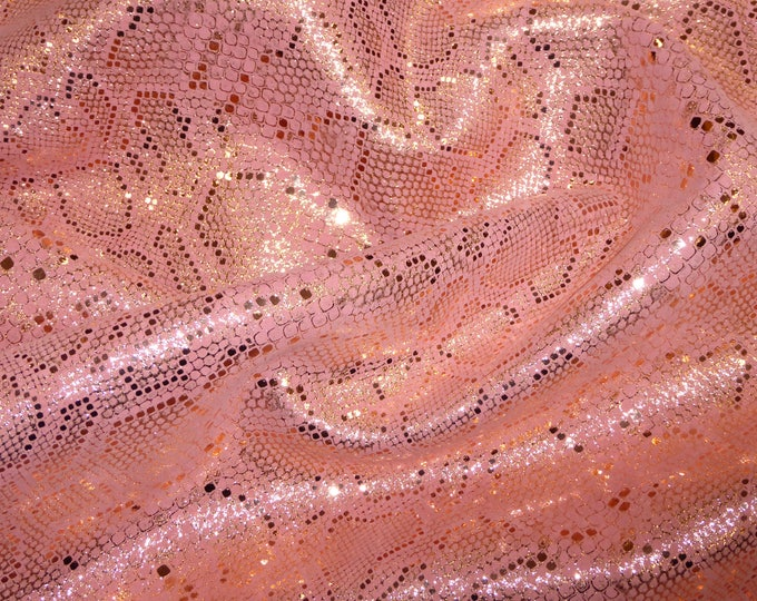 3 or 4 or 5 or 6 sq ft Elegant ROSE GOLD Metallic on PINK suede leather 2-2.5 oz /0.8-1 mm PeggySueAlso™ E2869-11 Full hides available