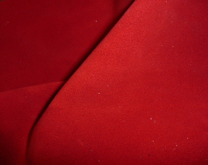 "Suede Leather 12""x12"" RED Suede Garment Grade Cowhide 3.5-3.75 oz / 1.4-1.5 mm PeggySueAlso™ E2825-01"