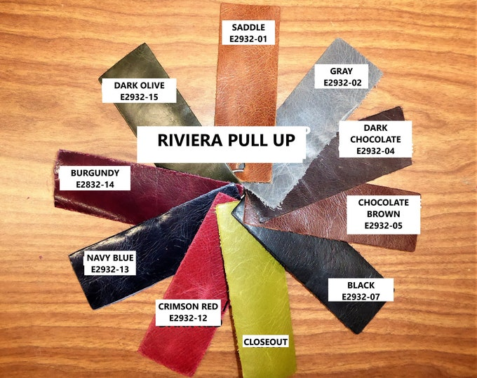 Leather 6 - 15 sq ft RIVIERA Pull Up effect Aniline Dyed Cowhide 2.5-3 oz /1-1.2 mm PeggySueAlso™ E2932 hides available (SHIP Rolled)