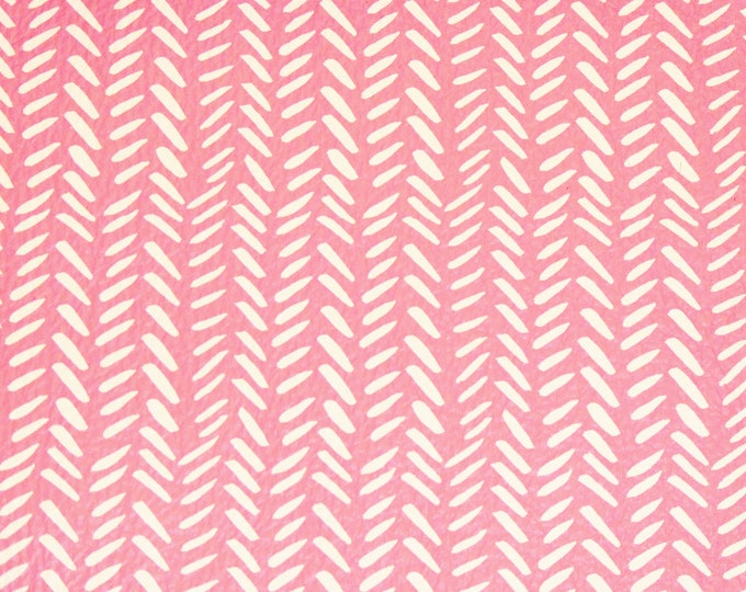 """Leather Version 4""""x6"""" or 5""""x11""""  BROKEN CHEVRON with white on PINK 3-3.5oz /1.2-1.4 mm #460 #486 PeggySueAlso™ E1380-27"""