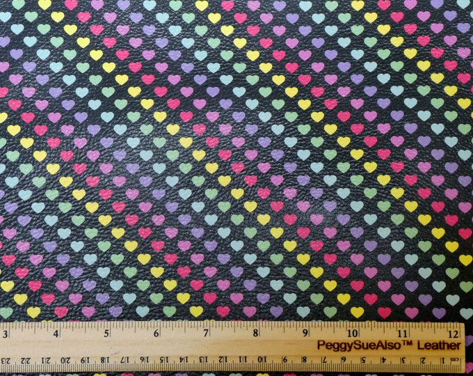 "NEW PETITE Version 8""x10"" 1/4"" RAINBOW Hearts on Black pebbled Leather (50% smaller) 3.5 oz/ 1.4 mm PeggySueAlso™ E1380-09A"