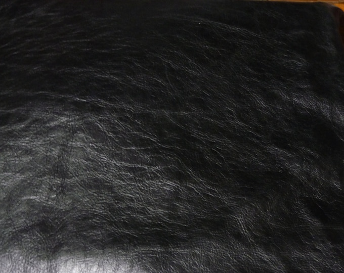 "Leather 12""x20"" or 10""x24"" or ++ PULL UP Distressed BLACK Cowhide 3.5-4 oz /1.4-1.6 mm PeggySueAlso™ E2930-05 Full hides available"