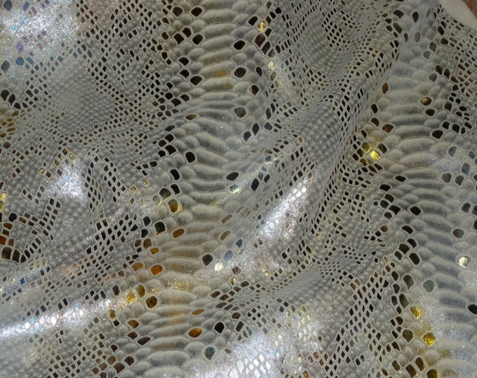 Precut Metallic Leather 3 sq ft Mystic Iridescent TRI COLORED on BEIGE Python Calfskin #4478 2.25-2.5oz /.9-1 mm #503 PeggySueAlso™ E2868-04