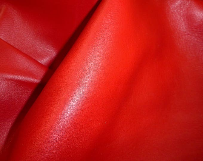 "Leather 12""x12"" Duchess collection RED (thinner KING and our brightest RED) Cowhide 2.25-2.75 oz/0.9-1.1 mm PeggySueAlso E2080-10 hides too"