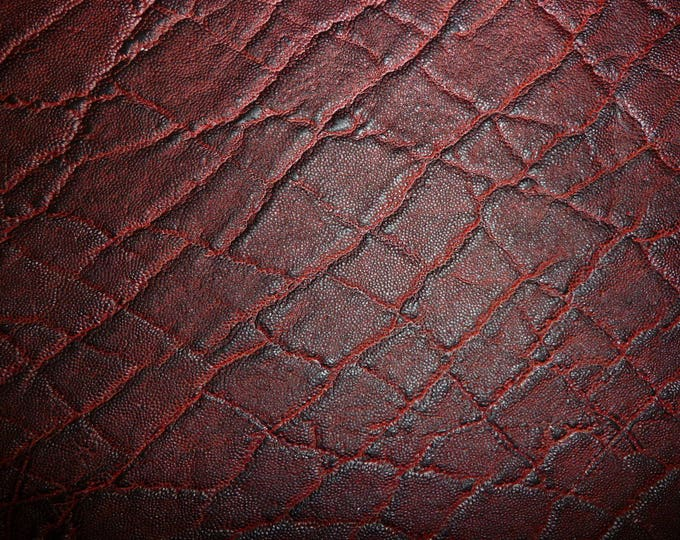 "Leather 12""x12"" Elephant MAROON / Black Cherry Embossed Cowhide 2.5-3oz/1-1.2 mm PeggySueAlso™ E2899-16 hides available"