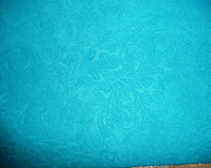 "SUEDE Leather 8""x10"" Etched DAISY Turquoise  Floral Pressed Design Matte Cowhide 3.5 oz / 1.4 mm PeggySueAlso™ E2875-05 Full hides available"