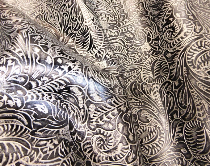 """Metallic Leather 8""""x10"""" Western Tool Floral leaf SILVER and BLACK Cowhide 2.5-2.75 oz/1-1.1 mm PeggySueAlso™ E2838-10 hides available"""