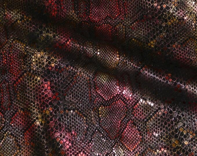 "Leather 8""x10"" ELEGANT Rose Dust SUNSET Metallic on Black cowhide 3-3.5 oz / 1.2-1.4 mm PeggySueAlso™ E2869-07"