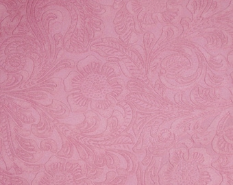 SUEDE Leather 3+ sq ft  Etched Pink DAISY Floral / Flower Cowhide Totally Matte Thick 4-4.5oz/1.6-1.8mm PeggySueAlso™ E2875-10 hides too