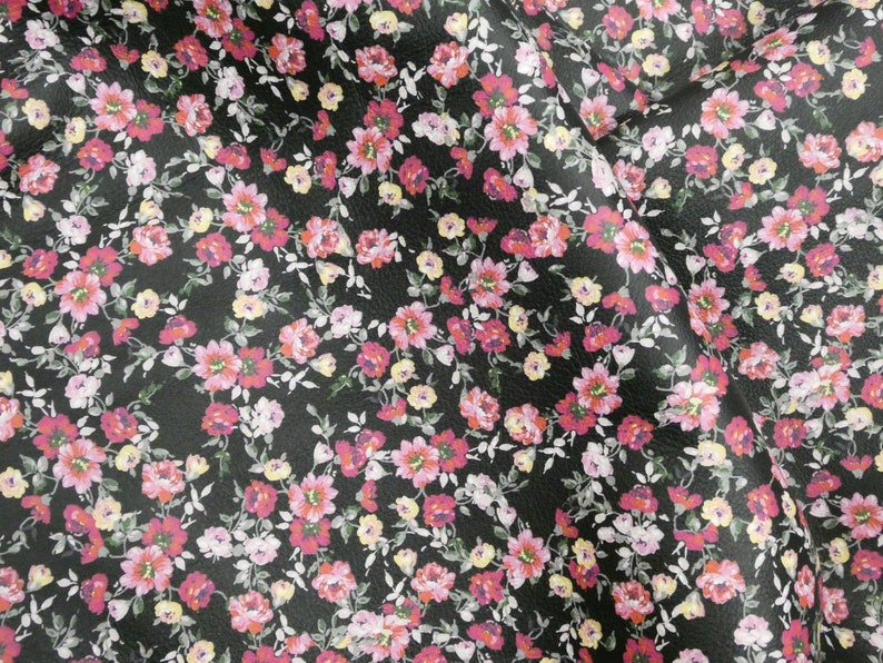 Dahlias Flowers on Black Cowhide 2.75-3 oz1.1-1.2 mm PeggySueAlso\u2122 E1133-03 hides available Leather 8x10 CLUSTERS of Tiny Roses