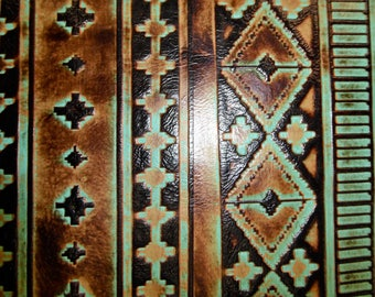 Leather 3-4-5 sq ft Sea Foam and Mocha NAVAJO Tribal Southwestern Embossed Cowhide 2.5-3 oz / 1-1.2 mm PeggySueAlso™ E2400-02