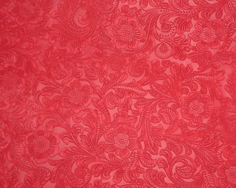 SUEDE Leather 3 to 6 sq ft Etched Daisy RED Floral Cowhide 3-3.5 oz / 1.2-1.4 mm PeggySueAlso™ E2875-04 Full hides available