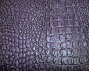 """Leather 8""""x10"""" Alligator PURPLE / Croc embossed Cowhide 3-3.5oz/1.2-1.4 mm PeggySueAlso™ E2860-07"""