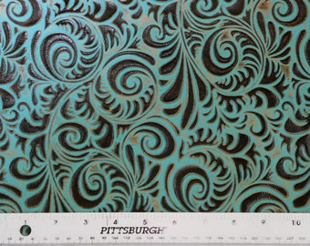 """NEW Leather 8""""x10"""" Turquoise and Brown Western SPIRAL Embossed Cowhide 3.5-4 oz/ 1.4-1.6 mm PeggySueAlso™ E3838-03 Hides Available"""
