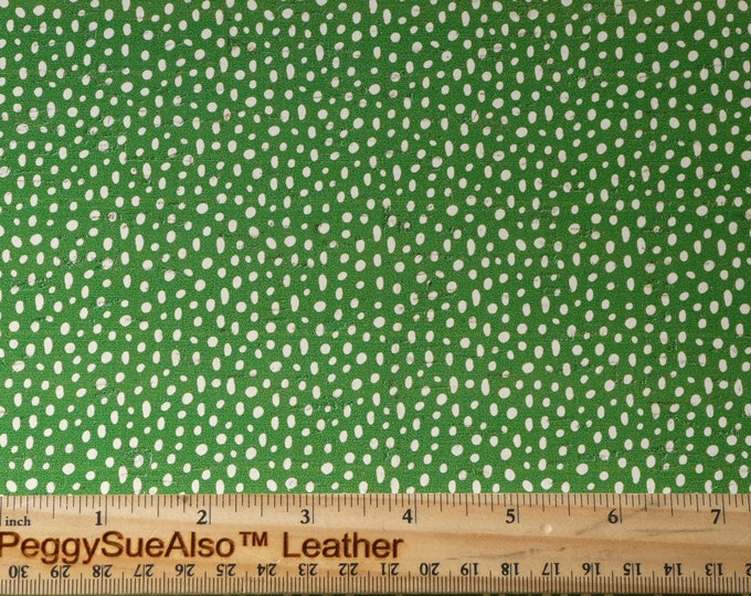 """CoRK 8""""x10"""" WHITE DooDLE DoTS on CHRISTMAS GREEN Cork with Leather backing Thick 5.5oz/2.2mm PeggySueAlso E5610-361"""