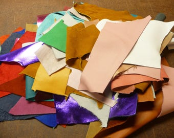 Leather All SOLID Colors Craft Sizes Scrap Cowhide packed in a U.S.P.S. Priority A Flat Rate Box PeggySueAlso™
