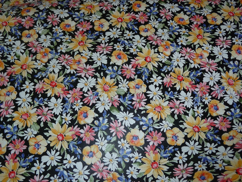 Leather 5x11 Black Flower Garden COWHIDE multicolored Floral pattern Cowhide 2-2.5 oz 0.8-1 mm #350 PeggySueAlso\u2122 E2176-01A limited