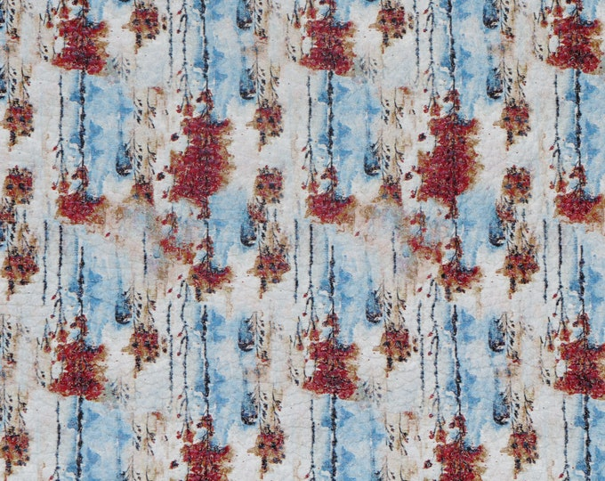 """Leather 8""""x10"""" WATERFALL in AUTUMN blue, rust, white Cowhide 3.5-4 oz/1.4-1.6 mm PeggySueAlso™ E1090-10 Hides Available"""