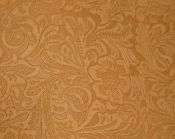 SUEDE Leather 3+ sq ft Etched DAISY TAN Floral Pressed Design Matte Cowhide 3.5 oz / 1.4 mm PeggySueAlso™ E2875-11 Full hides available