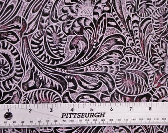 """Leather 12""""x12"""" Western Tooled Floral and Leaf PERIWINKLE and PLUM Embossed Cowhide 3-3.5 oz / 1.2-1.4 mm PeggySueAlso™ E2838-21"""