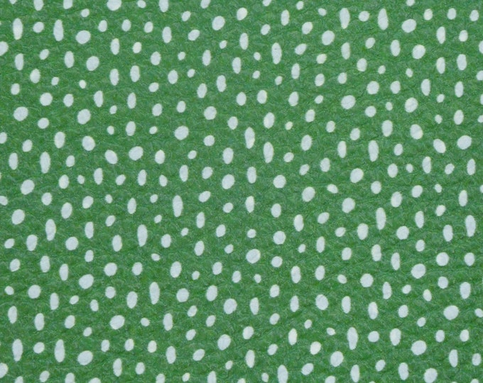 """Leather 12""""x12"""" GREEN With WHITE DOODLE DoTS cowhide 3.75-4 /1.8-2 mm PeggySueAlso™ E2000-10"""