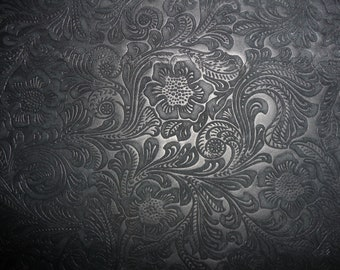 SUEDE Leather 3+ sq ft  Etched Daisy BLACK Floral Cowhide No shine, Matte  3.5 oz / 1.4 mm PeggySueAlso™ E2875-06 Full hides available