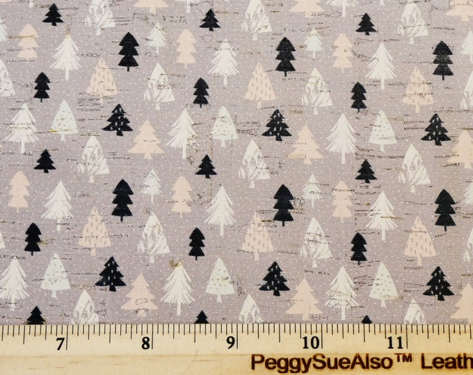 """Cork 8""""x10"""" HOLIDAY TREES on GRAY cork applied to Leather 4 strength Thick 5.5oz/2.2mm PeggySueAlso™ E5610-207 Winter Collection"""