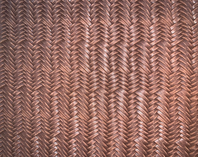"""Leather 12""""x12"""" Italian Fishtail Braided DaRK PECAN / TOBACCO / TOAST Brown Cowhide 2.5-3oz/1-1.2mm PeggySueAlso™ E3160-34 hides available"""
