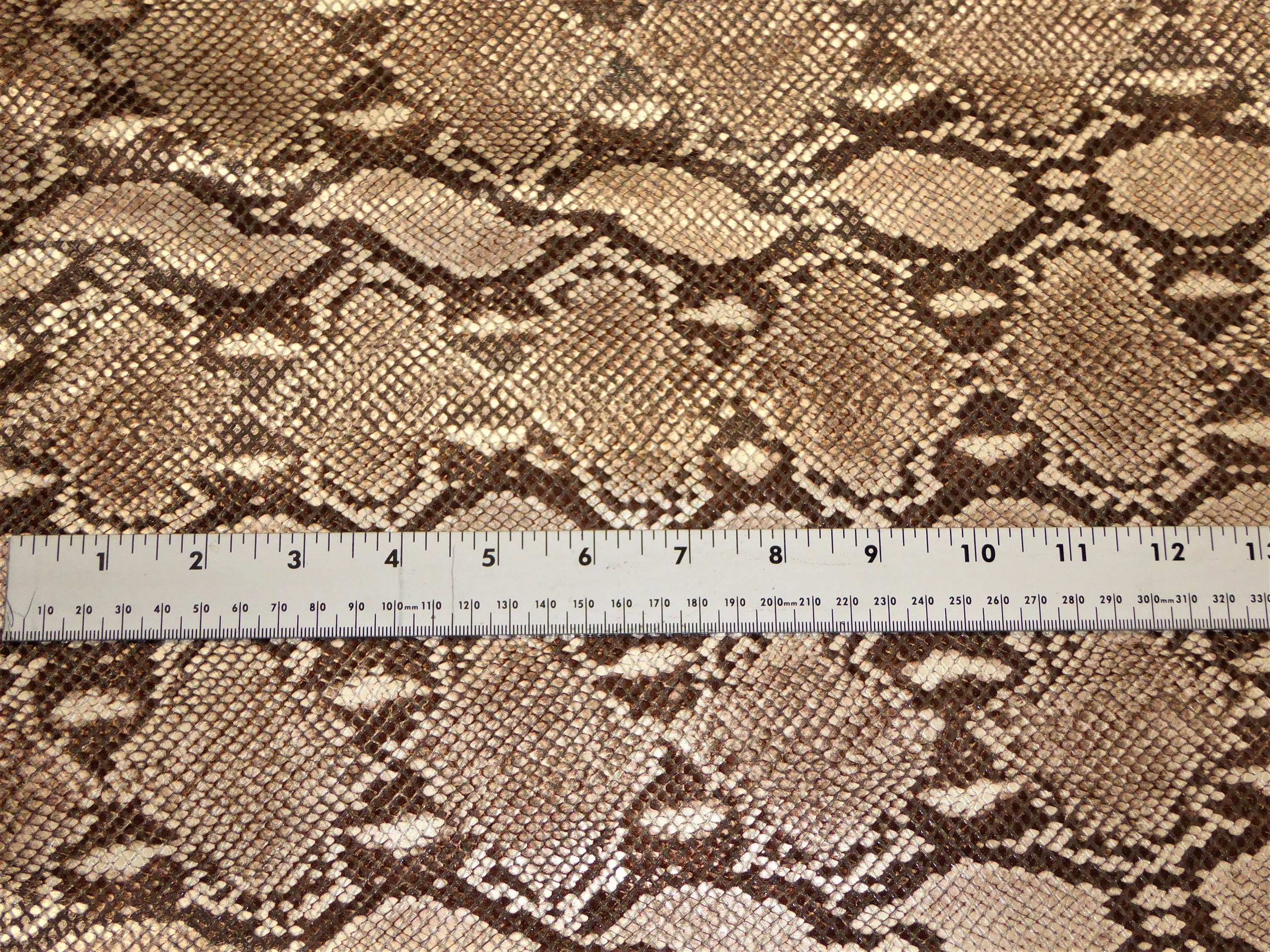 Metallic Leather 12x12  Python LASER Gold HOLOGRAPHIC on Cream Cowhide 3 oz  1.2 mm PeggySueAlso\u2122 E8110-05