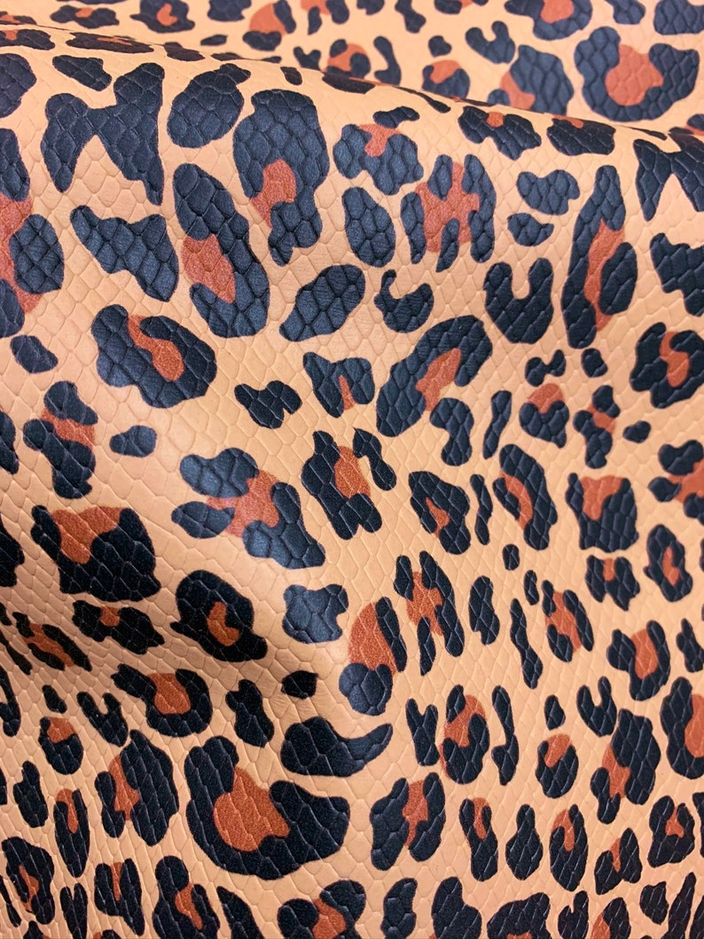 Leather 8x10 TEXTURED FLESH LEOPARD on tan Cowhide 2.5-2.75oz 1-1.1 mm PeggySueAlso\u2122 E1565-03 Hides available