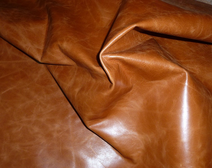"""Leather 12""""x12"""" RIVIERA Pull Up effect SADDLE Aniline Dyed Cowhide 2.5-3 oz /1-1.2 mm PeggySueAlso™ E2932-01 hides available"""