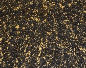 """NeW Cork 5""""x11"""" GOLD SPLATTER on BLACK Cork applied to Leather for body/strength Thick 5.5oz/2.2 mm E5610-373"""