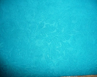 SUEDE Leather 3+ sq ft Etched Daisy TURQUOISE Floral Pressed Design Matte Cowhide 3.5oz/1.4mm PeggySueAlso™ E2875-05 Full hides too