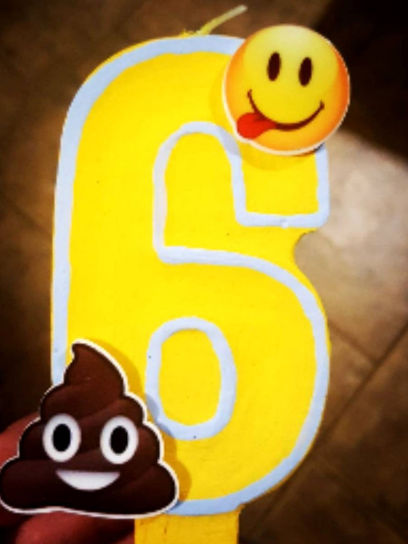 Emoji Birthday Candle Painted Cake
