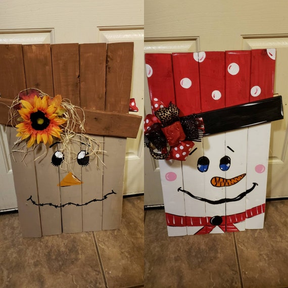 Snowman Scarecrow Plank Board Fall Door Decor Plank Board