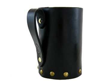 Black Leather Mug With Antique Brass Stud Hardware