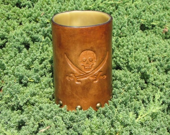 Pirate Leather Mug With Antique Brass Stud Hardware