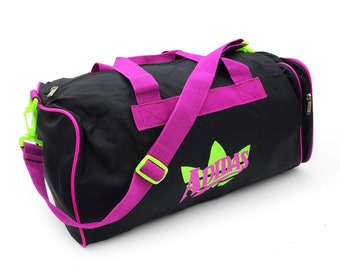 0c2a766366 Rare 80s Adidas West Germany Neon Green Accented Soft Nylon Duffle Bag
