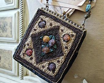 Antique Art Nouveau Gold T Frame Hand Knit Brown Iridescent Bead Fringe Purse Top Watermelons Vintage Accessories Antiques
