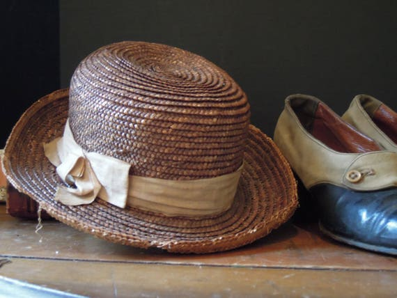 Antique Edwardian Young Girls Straw Hat   Antique Straw Hat    d25bd834a4f