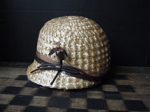 Vintage Straw Hat with Brown Braided Ribbon