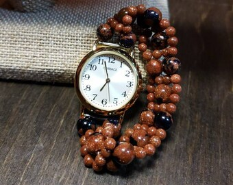 Blue and Brown Goldstone Watch