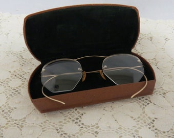 e5b7f00f251 Antique Gold Filled Glasses Spectacles In Case