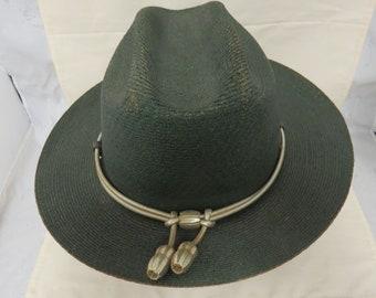 6dd29429 Vintage Game Warden Stetson Straw Hat Summer Uniform Hat Silver Braid