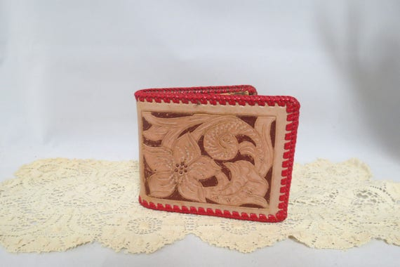 31182ad42f69f Items similar to Sale Vintage Hand Tooled Leather Wallet Hand ...