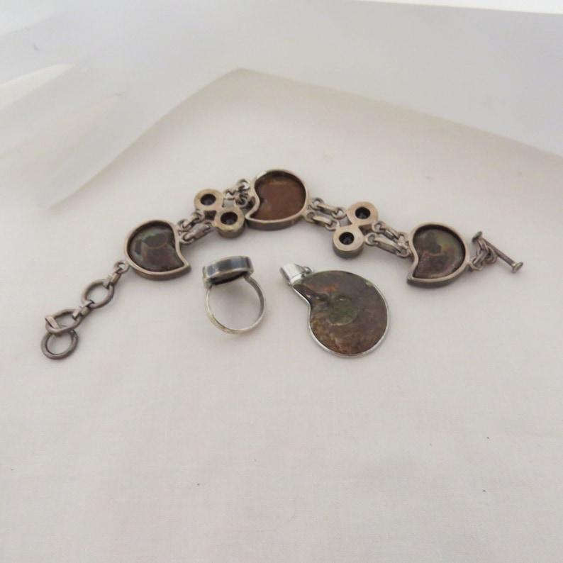 Vintage Sterling Silver Ammonite Full Parure Bracelet Ring Pendant Smokey Quartz Hand Crafted