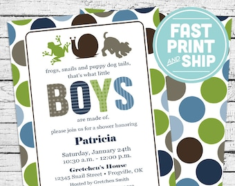 Printed Frogs Snails and Puppy Dog Tails Baby Shower Invitations and Envelopes
