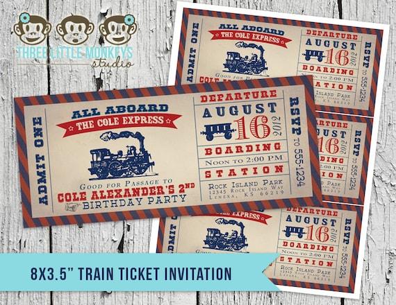 Vintage Train Birthday Party Locomotive Invitation