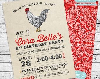 Chicken Birthday Party Invitation