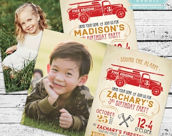 Firefighter Birthday Party Photo Invitation + Our 4 Favorite Printables!